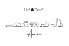 One Single Line Drawing Visit Aurora City Skyline, Colorado. World Beauty Town Landscape Art. Best Holiday Destination Postcard. Editable Stroke Trendy Continuous Line Draw Design Vector Illustration