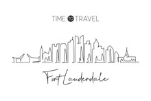 One Single Line Drawing Fort Lauderdale City Skyline Florida. World Historical Town Landscape. Best Holiday Destination Postcard. Editable Stroke Trendy Continuous Line Draw Design Vector Illustration