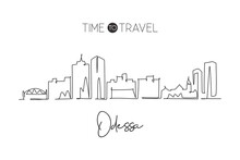 Single Continuous Line Drawing Of Odessa City Skyline, Texas. Famous City Scraper Landscape. World Travel Home Wall Decor Art Poster Print Concept. Modern One Line Draw Design Vector Illustration