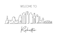 One Continuous Line Drawing Of Rochester City Skyline, Minnesota. Beautiful Landmark. World Landscape Tourism Travel Home Wall Decor Poster Print. Stylish Single Line Draw Design Vector Illustration