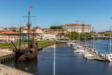 Historic Ship Docked In Vila Do Conde, Porto District, Portugal