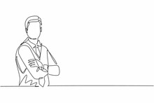 Continuous One Line Drawing Of Young Handsome Male Flight Attendant Posing Cross Arm On Chest. Professional Job Profession Minimalist Concept. Single Line Draw Design Vector Graphic Illustration