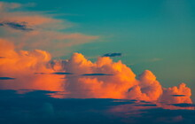 Teal Sky And Orange Clouds, Abstract Background