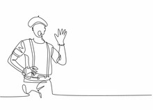 Continuous One Line Drawing Of Young Male Mime Artist Making Hand Gesture To Entertain The Audience. Professional Job Profession Minimalist Concept. Single Line Draw Design Vector Graphic Illustration