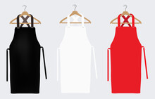White, Red And Black Aprons, Apron Mockup, Clean Apron. Vector Illustration