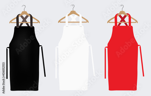 Cuadros en Lienzo White, red and black aprons, apron mockup, clean apron