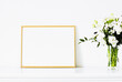 Golden frame on white furniture, luxury home decor and design for mockup, poster print and printable art, online shop showcase.