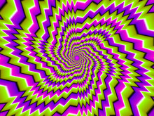 Green, Pink And Purple Zigzag Spirals. Optical Expansion Illusion.