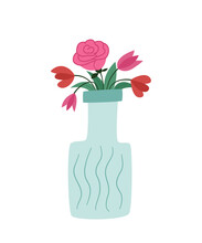 Bouquet Of Different Flowers In A Vase That Looks Like A Bottle. Lush Rose, Poppies And Tulips. Colored Isolated Illustration In Doodle Style On A White Background.