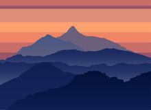 Mountains Evening Silhouette Landscape. Outdoor Adventure Travel Concept. Mountain Poster Design Template. Vector Illustration