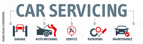 Obraz na plátně Banner Car service and repair. Vector illustration concept