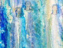 Engelhafte Himmlische Wesen Aus Glänzendem Licht Erscheinen Wie Symbole Der Hoffnung Erhaben In Glitzerndem Raum