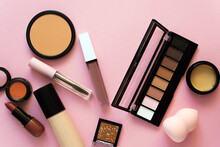 Set Of Professional Decorative Cosmetics, Makeup Tools And Accessory On Colored Background. Beauty, Fashion And Shopping Concept. Flat Lay Composition, Top View