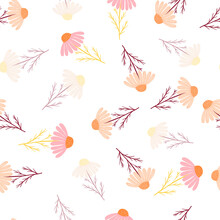 Seamless Pattern With Botanic Camomile Doodle Flowers. Random Pink And Orange Ornament. Isolated Print.