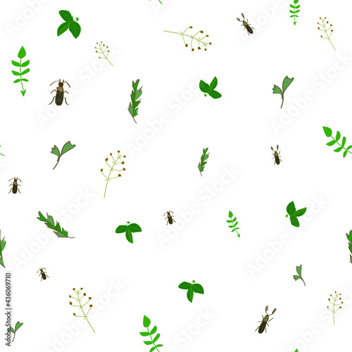 Beetles and leaves, seamless pattern for fabric Fototapet