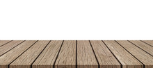Empty Top Wood Table Isolated On White Background Used For Display Or Montage Your Products