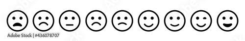 Emoticons set happy and sad emoji. Vector icon