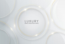 Abstract Luxury Design - Thin Gold Circles On Gradient White Background