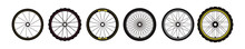 Bicycle Wheel Sign Symbol. Bike Rubber Mountain Tyre, Valve. Vector Illustration Flat Style.