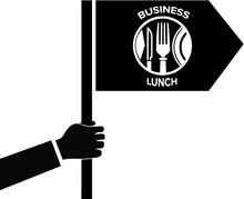 Logo, Icon Business Lunch. Striped Tie In A Circle.