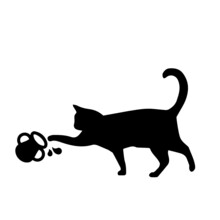 Vector Cartoon Cute Cat Eating Isolated On White Background