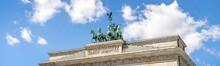 Panoramic View Of Brandenburg Gate With Quadriga Statue, Berlin, Germany