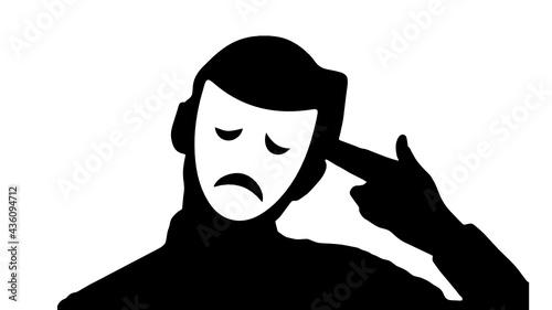 Fotografia person with mask, Sadness, depression, suicide prevention