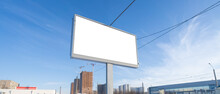 Billboard Screen On The Background Of The Sky. Mockup For Advertising
