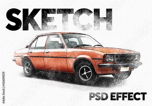 Pencil Sketch Effect Mockup