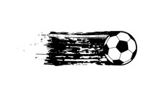 Flying Soccer Ball, Template For Your Banner. Vector Illustration In Grunge Style
