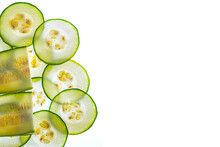 Slices Of Zucchini On A White Background