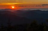 Fototapeta Kamienie - Sunset seen from Dwernik Kamień, multi-plan on the horizon, Bieszczady Mountains