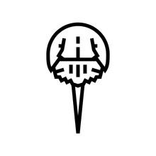 Arthropod Horseshoe Crab Ocean Line Icon Vector. Arthropod Horseshoe Crab Ocean Sign. Isolated Contour Symbol Black Illustration
