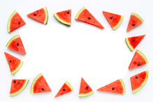 Frame Made Of Slices Of Watermelon On White.