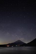 本栖湖の富士山と春の天の川