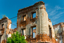 Ruins Of An Old Brick House Of The Belkin Estate On A Sunny Day. Obninsk, Russia, May 2021
