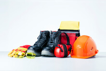 Personal Protective Equipment On Light Grey Background. Safety Work Concept.