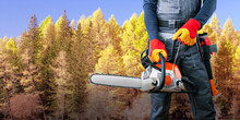 Lumberjack With Chainsaw And Axe In Forest. Banner.