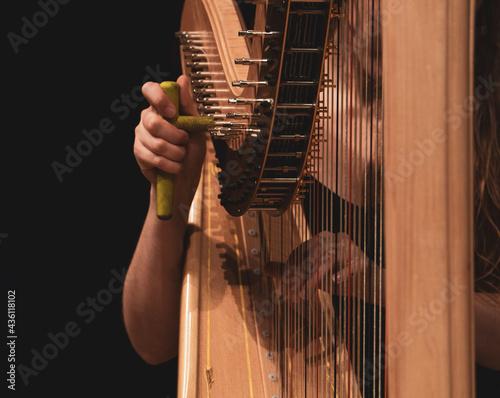 Person tuning a harp musician harpist Fototapet
