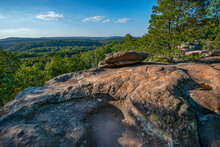Forested Mountains Fading To The Horizon Seen From The Top Of A Weatered, Rocky Outcrop. Garden Of The Gods, Illinois