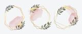 Luxury Gold invite frame design vector. Invitation design for wedding logo, VIP Invitation card, , beauty logo, Image frame, wall art decoration. Water color frame design. vector illustration.