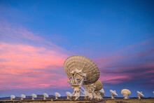 Satellite Antenna Array At Dusk