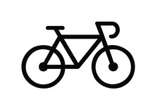 BICYCLE ICON ISOLATED, BLACK WITH WHITE BACKGROUND VECTOR