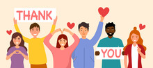 People Show Thank You And Love Message Via Hand Gesturing And Text Sign In Flat Design.