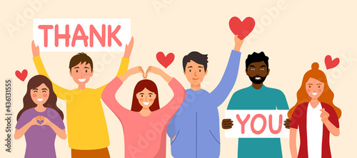 Photo People show thank you and love message via hand gesturing and text sign in flat design