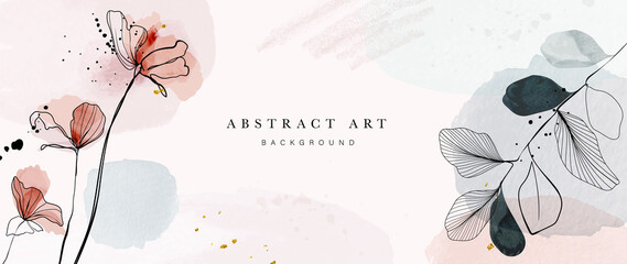 Abstract art background vector. Luxury minimal style wallpaper with golden line art flower and botanical leaves, Organic shapes, Watercolor. Vector background for banner, poster, Web and packaging.