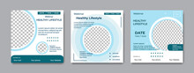 Set Of Social Media Post Templates. Suitable For Health Webinars, Health Poster, Business Webinar, Online Classes And Other Online Seminars.