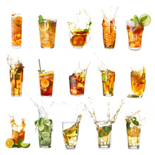 Glasses Of Tasty Cold Iced Tea On White Background