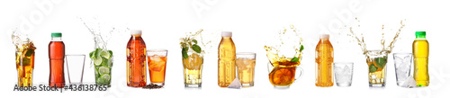 Obraz na płótnie Collage of tasty cold tea on white background