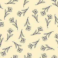 Hand Drawn Seamless Floral Pattern With Simple Little Flower Branch. Doodle Sketch Line Style. Vector Illustration For Nature Foliage Wallpaper, Background, Textile Design..